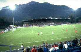 A football match at the stadium in Vaduz