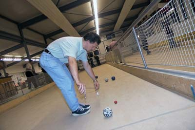 Boccia, a sport like the French Boule, played in Liechtenstein